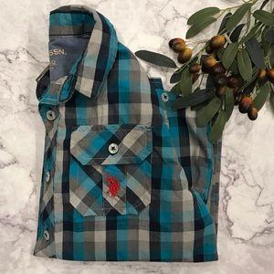 U.S. Polo Assn. Blue Plaid Button Down Shirt